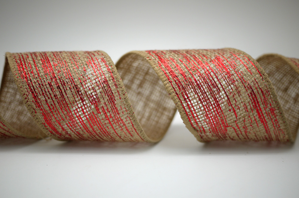 foil rainfalls burlap ribbon - Burlap Christmas Ribbon