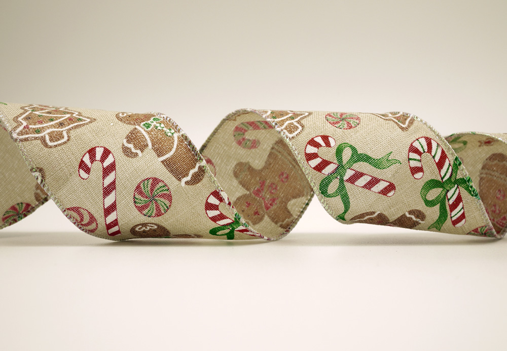 gingerbread man candy cane faux burlap ribbon - Christmas Burlap Ribbon