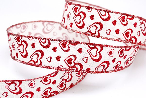 red glitter hearts valentine ribbon