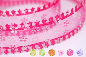 Die-cut Flower Edge Organza Ribbon - Die-cut Flower Edge Organza Ribbon