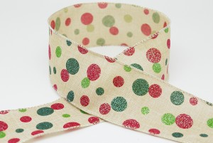 Red/Green/Emerald Dots Christmas Ribbon - Red/Green/Emerald Dots Christmas Ribbon