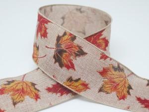 Maple Leaves Faux Linen Fall Ribbon - Maple Leaves Faux Linen Fall Ribbon