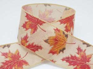 Maple Leaves on Fine Net Ribbon - Maple Leaves on Fine Net Ribbon