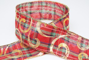 Scrolls on Plaid Christmas Ribbon - Scrolls on Plaid Christmas Ribbon