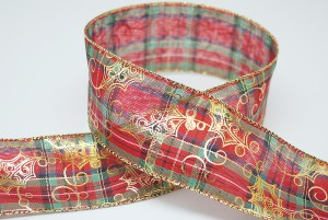 Holly Leaves on Plaid Christmas Ribbon - Holly Leaves on Plaid Christmas Ribbon