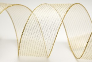 Wire & Organza Stripe Ribbon - Wire & Organza Stripe Ribbon
