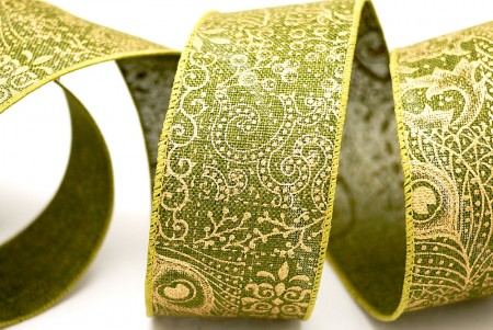 Gold Peacock Feather & Scrolls Ribbon - Gold Peacock Feather & Scrolls Ribbon