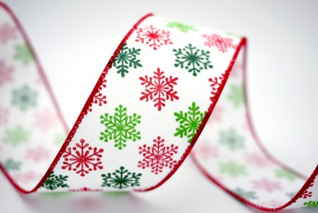 Red & Emerald Snowflakes Ribbon - Red & Emerald Snowflakes Ribbon