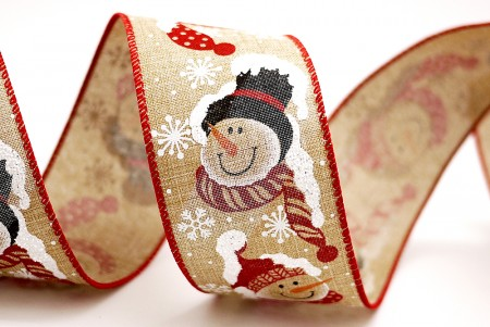Snow & Snowman Red Edge Ribbon - Snow & Snowman Red Edge Ribbon