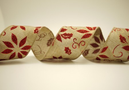 Poinsettia Faux Burlap Ribbon - Poinsettia Faux Burlap Ribbon