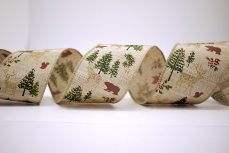 Xmas Tree, Deer, Squirrel Ribbon - Xmas Tree, Deer, Squirrel Ribbon