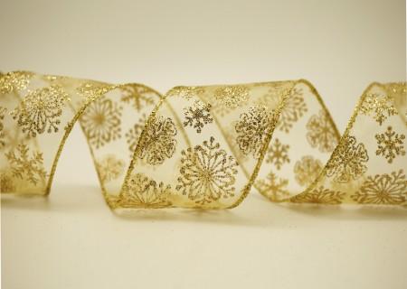 Glitter Snowflakes Organza Ribbon - Glitter Snowflakes Organza Ribbon