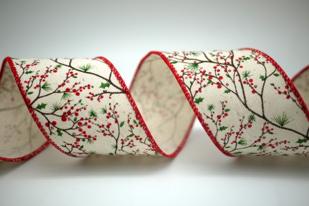 Red Pinecone & Pine Needle Ribbon - Red Pinecone & Pine Needle Ribbon