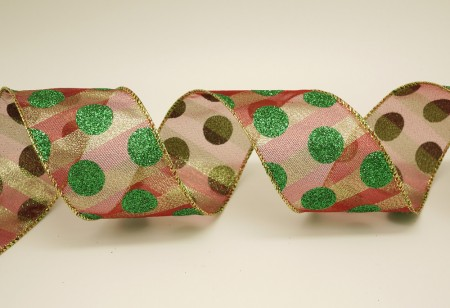 Glitter Dots on Double Metallic Ribbon - Glitter Dots on Double Metallic Ribbon