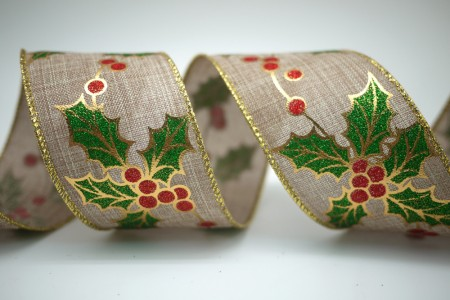 Holly Leaves and Berries Ribbon - Holly Leaves and Berries Ribbon