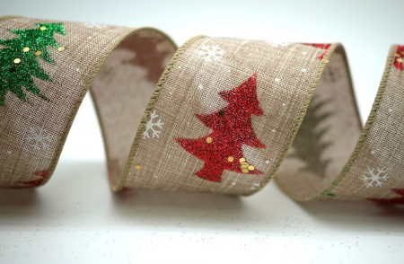 Bi-colored Christmas Trees Ribbon - Bi-colored Christmas Trees Ribbon