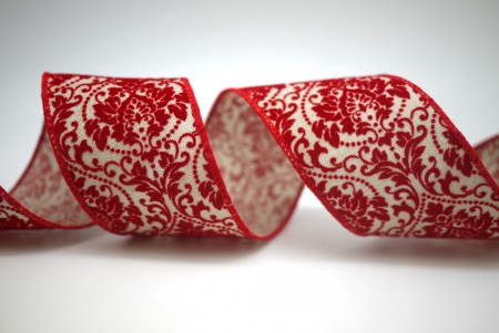 Velvet Damask Ribbon - Gorgeous Damask design in velvet texture on two types of fabric