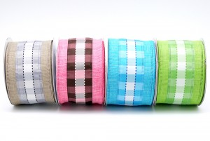 Plaid/check on Linen Ribbon - Plaid/check on Linen Ribbon