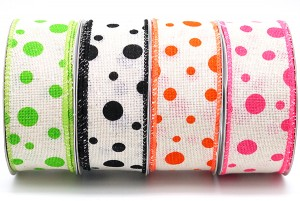 Dots on Cotton Ribbon with Matte Sewn Edge - Dots on Cotton Ribbon with Matte Sewn Edge