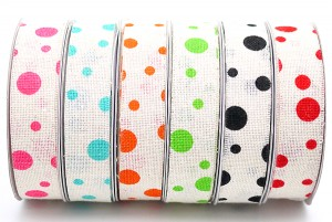 Dots on Cotton Ribbon with Self Edge - Dots on Cotton Ribbon with Self Edge