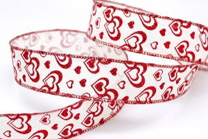 Red Glitter Hearts Valentine Ribbon - Red Glitter Hearts Valentine Ribbon