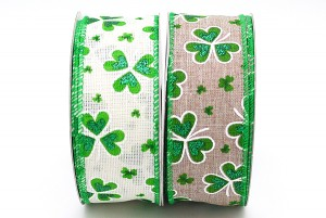 1.5 inch St. Patrick's Day Flowers Ribbon - 1.5 inch St. Patrick's Day Flowers Ribbon