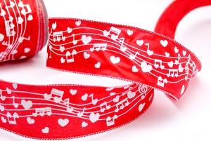 White Music Notes & Hearts Ribbon - White Music Notes & Hearts Ribbon