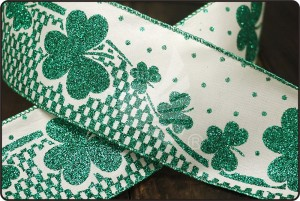 St. Patrick's Ribbon - Clover Printed Ribbon(KF1544GH)