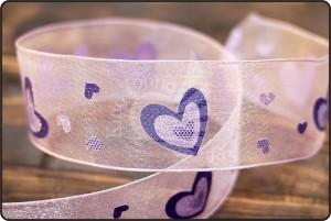 Glitter Heart Organza Ribbon - Glitter Heart Organza Ribbon (PR462)