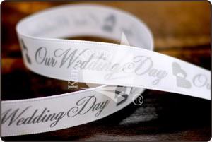 """""""Onze trouwdag"""" satijnen lint - Onze trouwdag satijnen lint (PR270)"""