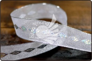 Sheer Ribbon with Diamond Sequins - Sheer Ribbon with Diamond Sequins