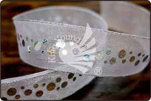 Silver Edge Sheer Ribbon with Sequins - Silver Edge Sheer Ribbon with Sequins