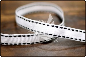Narrow Twill Ribbon with Side Stitching - Narrow Twill Ribbon with Side Stitching