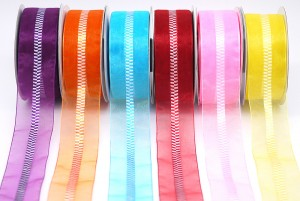 Checkered Center Organza Ribbon - Checkered Center Organza Ribbon
