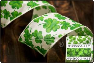 St. Patrick's Ribbon - Clover Glitter Ribbon (KF1496GC)