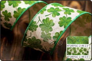St. Patrick's Ribbon - Clover Glitter Linen Ribbon (KF1497GC)