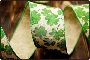 St. Patrick's Ribbon - Clover Linen Ribbon (KF1497GC)