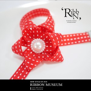 Stitched Grosgrain Ribbon Bow Necklace - Stitched Grosgrain Ribbon Bow Necklace
