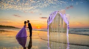 Romantic Purple Wedding Arch