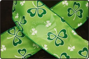 St. Patrick's Ribbon - Clover Printed Ribbon(KF1540GC)