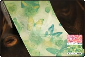 70 मिमी विंटेज तितली और फूल प्रिंट रिबन - 70 मिमी विंटेज तितली और फूल प्रिंट रिबन