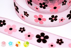 Big Puffed Flowers Print Sheer Ribbon - Big Puffed Flowers Print Sheer Ribbon