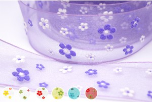 Puff Flowers Wired Sheer Ribbon - Puff Flowers Wired Sheer