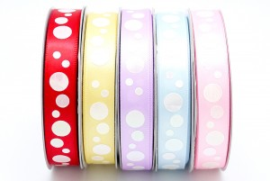 Iridescent Dots Print Satin Ribbon - Iridescent Dots Print Satin Ribbon