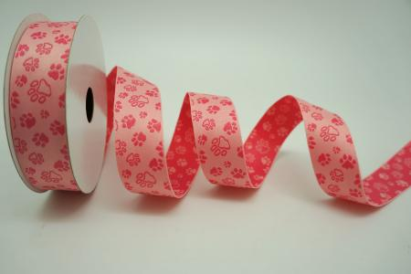 Pink & Light Pink Pet Paw Ribbon - Pink & Light Pink Pet Paw Ribbon