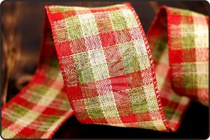 Traditional Christmas Plaid/Check Linen Ribbon - Traditional Christmas Plaid/Check Linen Ribbon