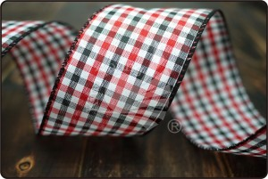 Gingham Fabric Ribbon in Black/Red/White - Gingham Fabric Ribbon in Black/Red/White