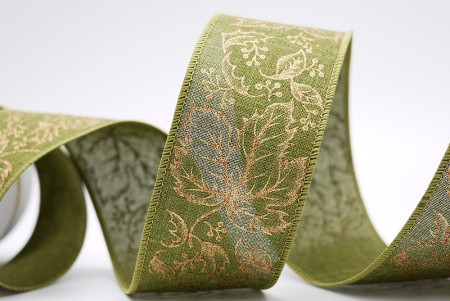Gold Maple Leaves Ribbon - Gold Maple Leaves Ribbon
