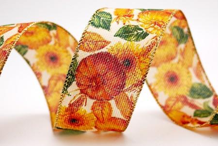 Sunflower & Pumpkin Net Woven Ribbon - Sunflower & Pumpkin Net Woven Ribbon