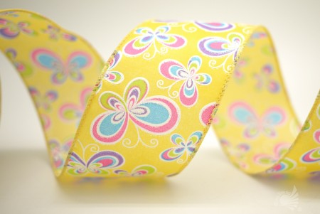 Colorful Butterflies Satin Ribbon - Colorful Butterflies Satin Ribbon